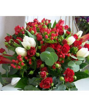 Tulipány a červené trsovky