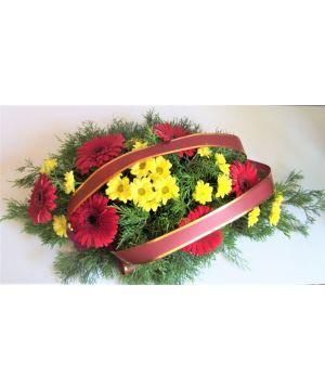 Smuteční kytice z gerber a chryzantémy